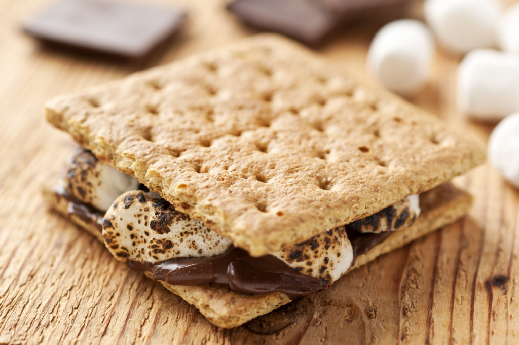 S'more sitting on a wooden table